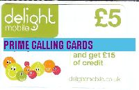 DELIGHT MOBILE TOP UP £5 phone card cover